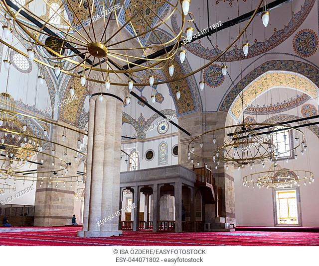 People visit Selimiye Mosque in Konya,Turkey. 28 August 2017
