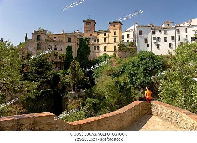 The House of Moorish King seen from a mirador, Ronda, Malaga-province, Region of Andalusia, Spain, Europe