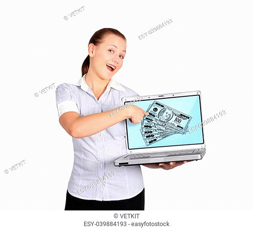 woman pointing to dollars on screen laptop