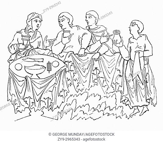 A cartoon of an Anglo Saxons drinking wine or mead and pledging (or toasting) in 8th Century England