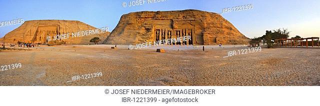 Panoramic view, Temple of Nefertari and the Pharaoh Ramses II, Abu Simbel, Nubia, Egypt, Africa