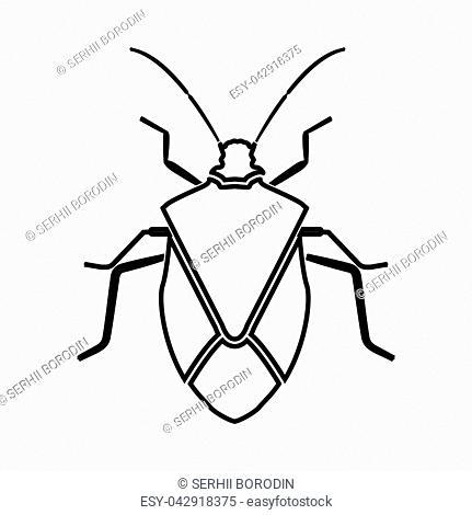 Bug it is black icon . Flat style