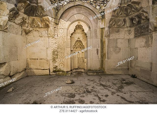 Architectural detail. Caravanserai of Agzikarahan, 13th century caravan inn for merchants, Cappadocia, Turkey