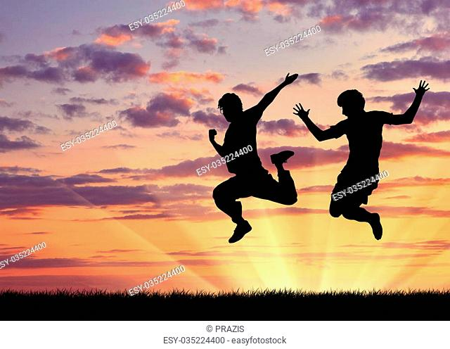 Concept of gay people. Silhouette of two happy gays jump at sunset