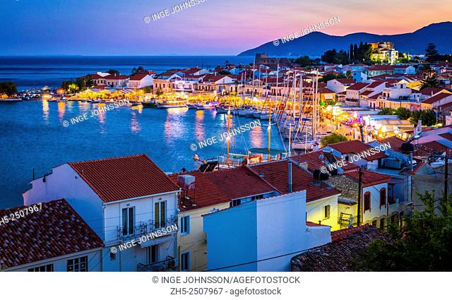 Sunset over the small town of Pythagoreio on the greek island of Samos. Pythagoreio or Pythagoreion and Pythagorion is a small town and former municipality on...