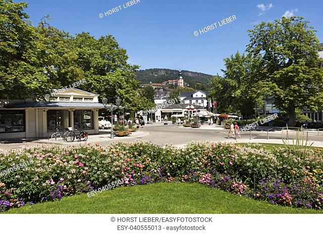 Overlooking the Colonnades and the Collegiate Church of Baden Baden. Baden Wuerttemberg, Germany