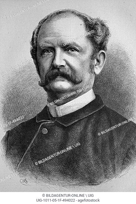 Ernst keil, 1816-1878, german bookseller and founder of the family magazine die gartenlaube, historic wood engraving, ca. 1880
