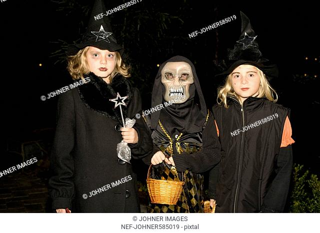 Three girls during Halloween, Sweden