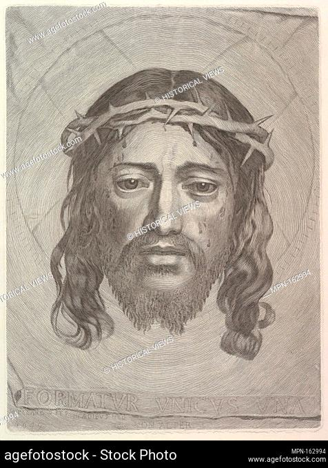 Face of Christ on St. Veronica's Cloth. Artist: Claude Mellan (French, Abbeville 1598-1688 Paris); Date: 1649; Medium: Engraving; second state of two (copy?);...
