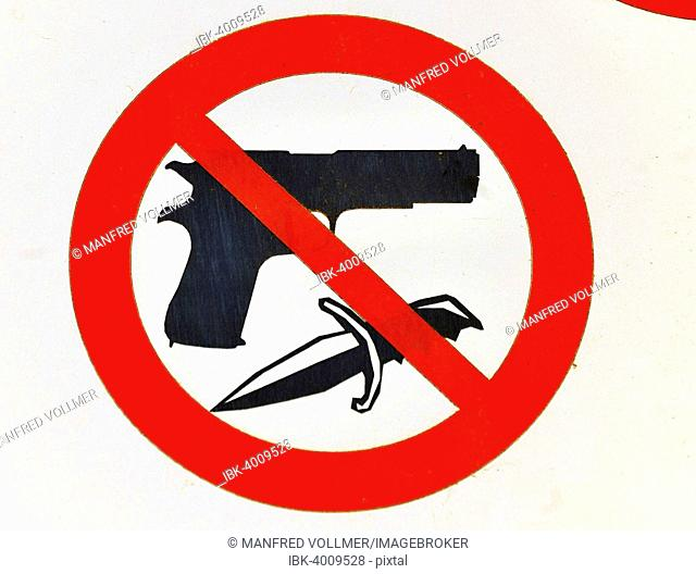 Weapons prohibition sign in front of the Church of the Visitation, Ein Kerem, Israel