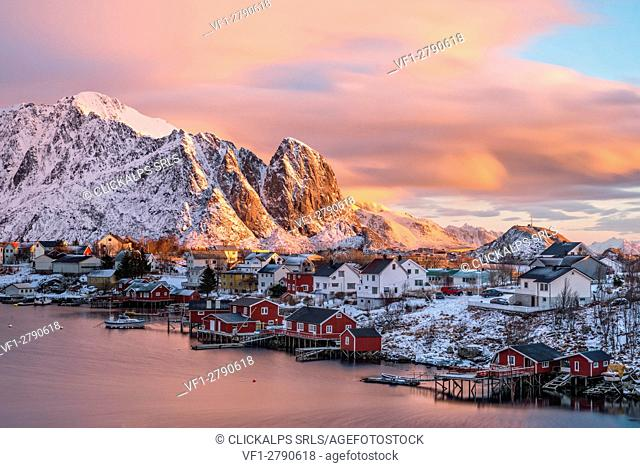 The town of Reine at sunrise, Lofoten Islands, Norway
