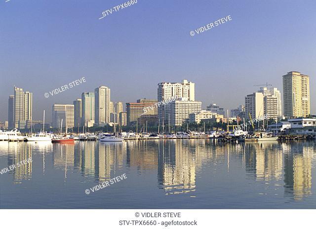 Asia, Boats, Buildings, City, Holiday, Landmark, Manila, Manila bay, Modern, Philippines, Asia, Reflection, Sea, Skyline, Skyscr