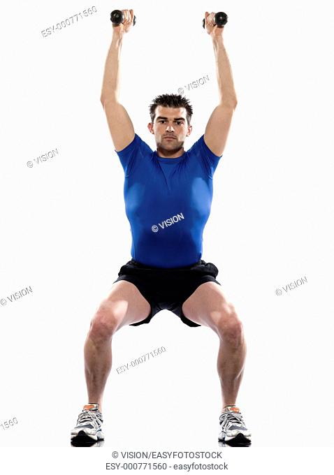 man exercising workout on white background