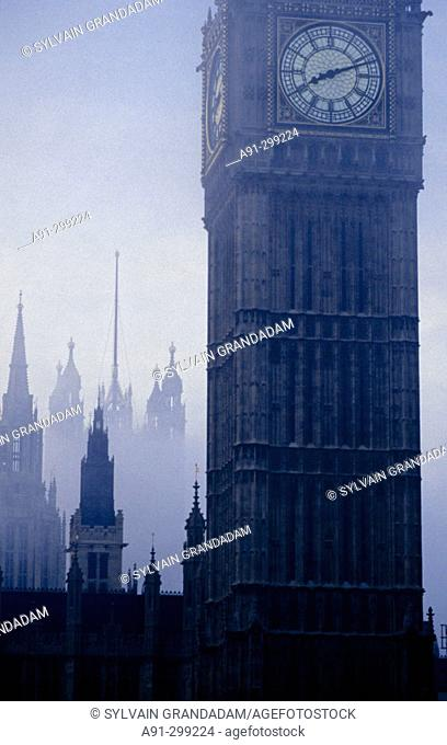 Big Ben on a misty day. Westminster. London. England
