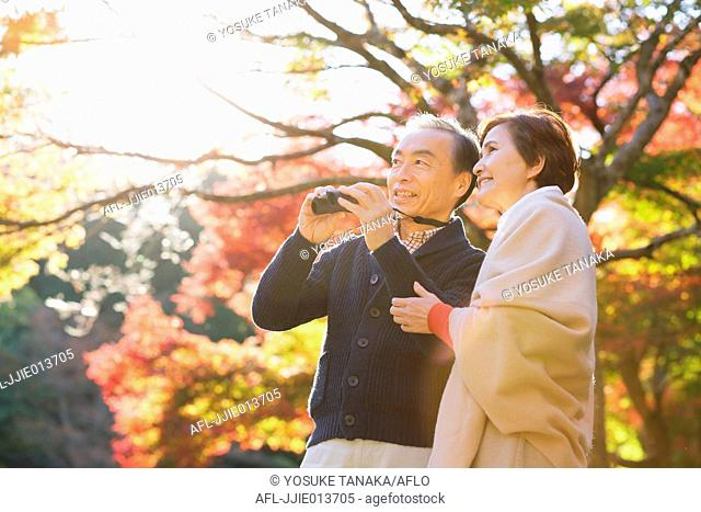 Senior Japanese couple with binoculars in a traditional park in Autumn