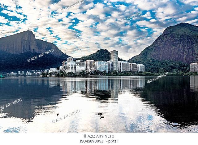 Rodrigo de Freitas Lagoon, Corcovado Ipanema, Christ the Redeemer in the distance, Rio de Janeiro, Brazil