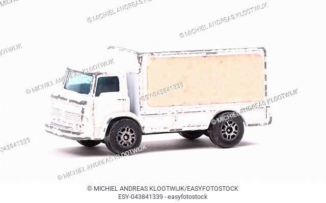 White metal toy car, truck, isolated on white