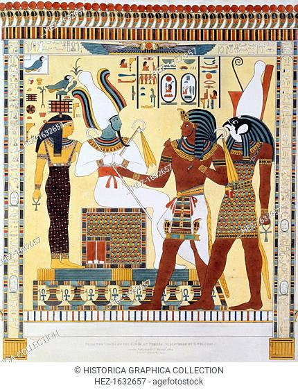 Mural from the tombs of the Kings of Thebes, discovered by G Belzoni, 1820-1822. Italian eplorer and antiquity hunter Giovanni Battista Belzoni (1778-1823) made...