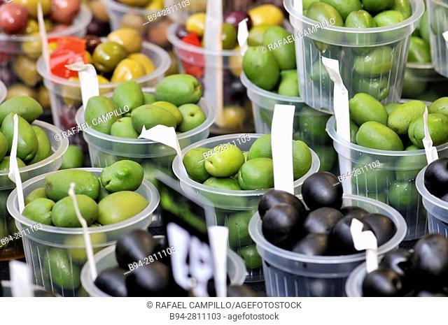 Olives for sale. Sant Josep market, aka La Boqueria. Barcelona, Catalonia, Spain