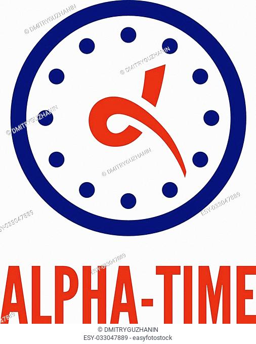 Letter alpha stylized as hands of clock logo template. EPS 10 vector illustration, no transparency