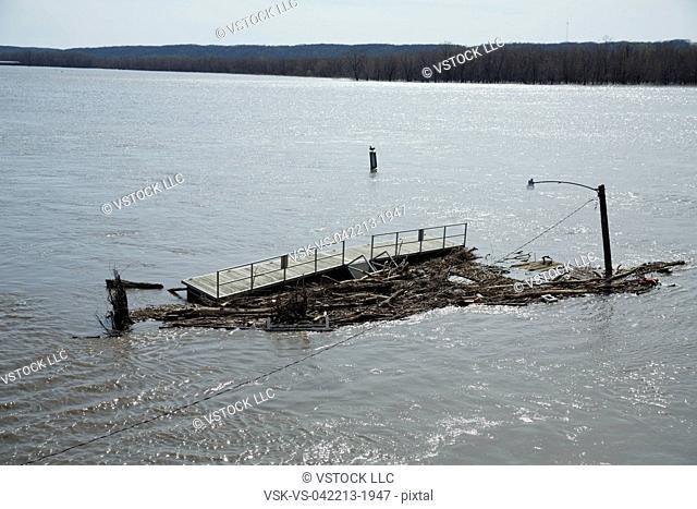 View of flooded bridge