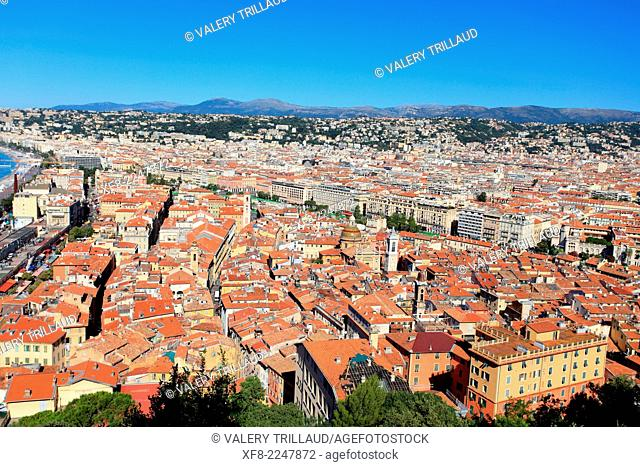 Roof top of the old town in Nice city, Alpes-Maritimes, Provence-Alpes-Côte d'Azur, France