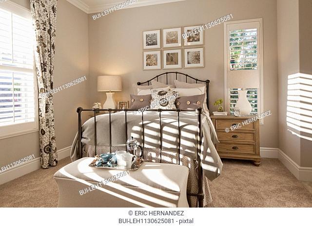 Interior of domestic bedroom; Rancho Mission Viejo; California; USA