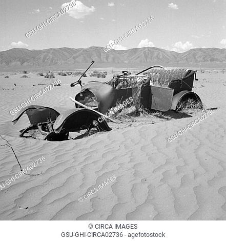 Abandoned Car Relic on Farm destroyed by Wind Erosion, Idaho, USA, Wilbur Staats for Farm Security Administration, March 1937