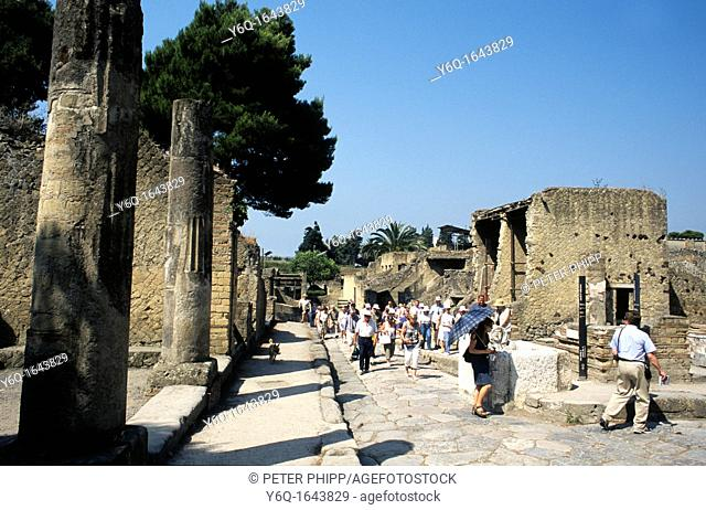 Ruins of Herculaneum near to Naples in Italy  A town that was submerged by a mud slide after Vesuvius erupted