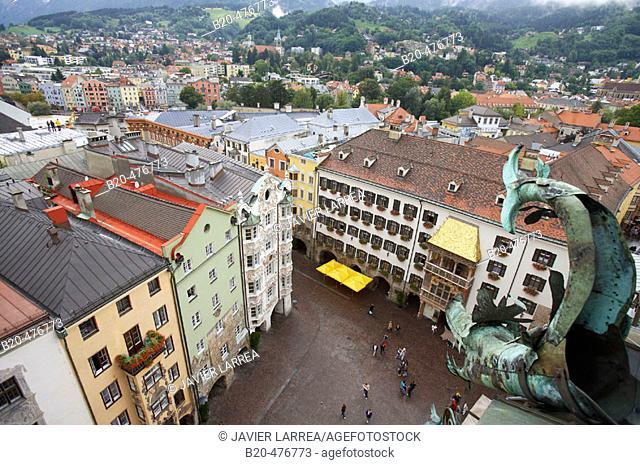 Goldenes Dachl and Herzog-Friedrich-Strasse, Innsbruck. Tyrol, Austria