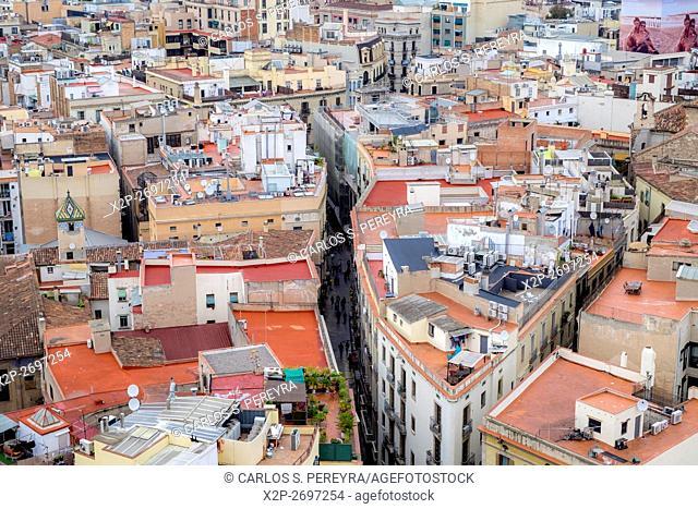 Panoramic of Barcelona from the tower of Santa Maria del Pi church, Catalonia, Spain