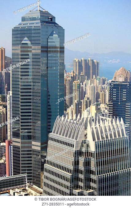 China, Hong Kong, Central district, skyline, skyscrapers, aerial view,