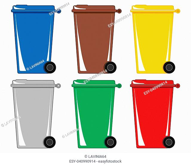 a vector illustration in eps 8 format of six colorful wheelie bins for different types of refuse and recycling on a white background