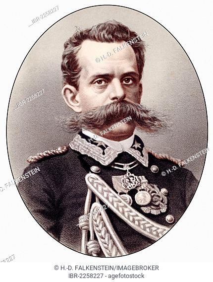 Historic chromolithography from the 19th century, portrait of Umberto I of Italy, also known as Umberto Ranieri Carlo Emanuele Giovanni Maria Ferdinando Eugenio...