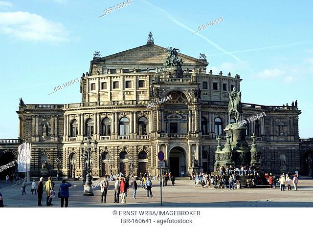 Theatre square Semper opera King Johann monument Dresden Saxony Germany