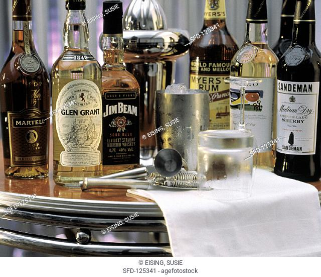 Assorted Bottles on a Bar