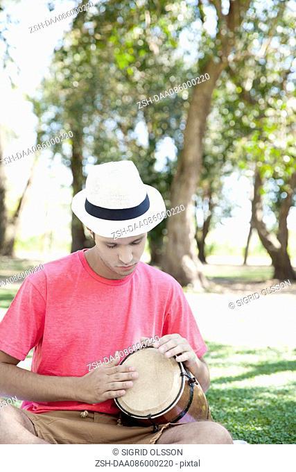 Man playing conga