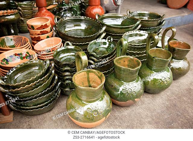 Pots and jugs made from clay for sale in a shop at the historic center, Oaxaca, Oaxaca State, Mexico, North America