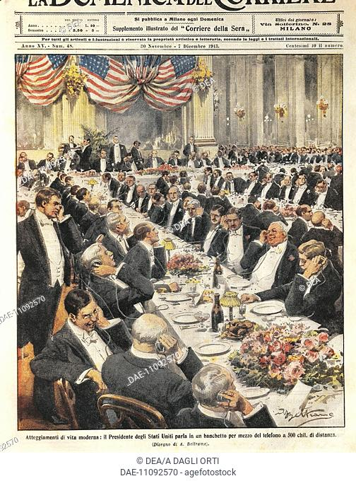The President of the United States speaking by telephone at a distance of 500 kilometres. Illustration by Achille Beltrame on the Italian newspaper 'La Domenica...