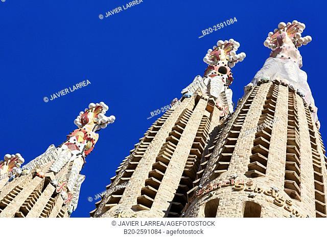 La Sagrada Familia Church. Designed by the architect Antoni Gaudí. Eixample district, Barcelona, Catalonia, Spain
