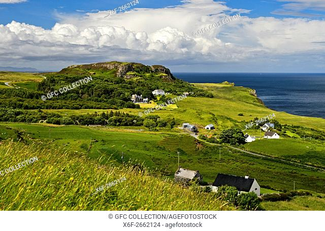 Landscape on theTrotternish peninsula near the Flodigarry Hotel, Isle of Skye, Scotland, Great Britain