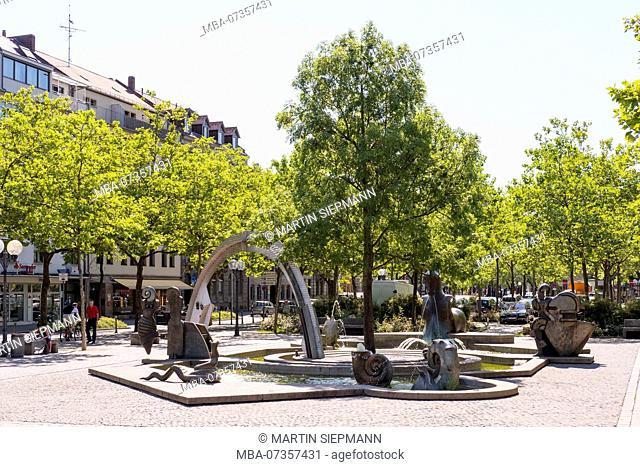 Paradise fountain on the Dr.-Max-Grundig-Anlage, Fürth, Central Franconia, Franconia, Bavaria, Germany