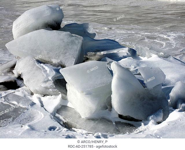 Pieces of ice on frozen river St. Lawrence river Quebec Canada