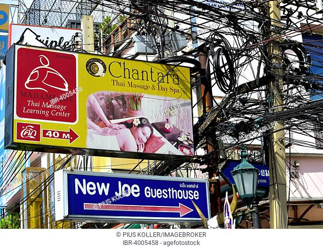 Electricity pylons and billboards, Bangkok, Thailand