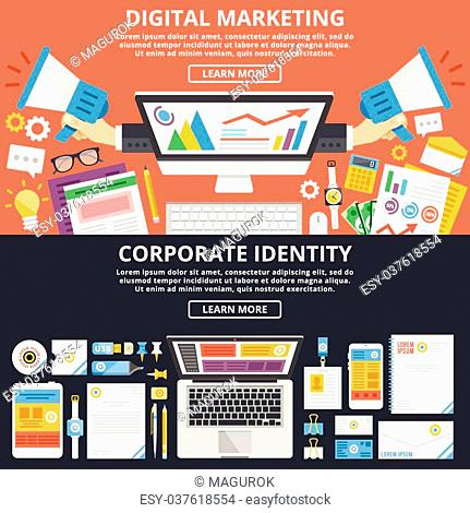 Digital marketing, corporate identity flat illustration concepts set. Top view. Modern flat design concepts for web banners, web sites, printed materials