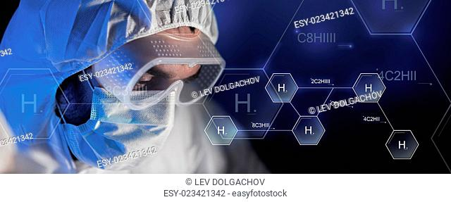 science, chemistry, biology, medicine and people concept - close up of scientist face in goggles and protective mask at chemical laboratory over hydrogen...
