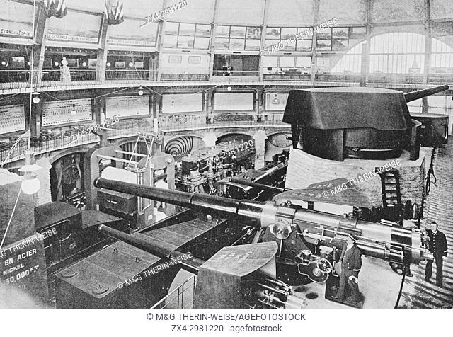 Schneider company pavilion, Le Creusot exhibition, Universal Exhibition 1900 in Paris, Picture from the French weekly newspaper l'Illustration