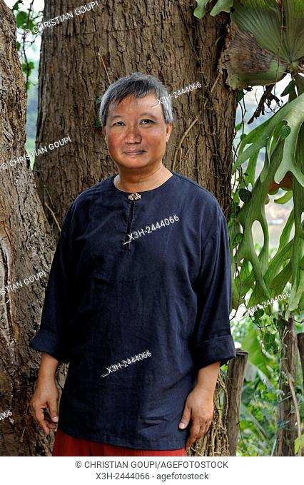 Tiao Somsanith Tiao Nith, internationally renowned artist, expert in the gold-thread embroidery, Prince descendant of the Royal Family of Luang Prabang, Laos