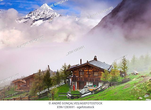House in the Switzerland Alps with Matterhorn behind