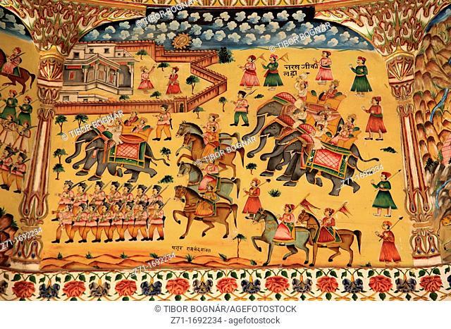 India, Rajasthan, Bikaner, Bhandasar Jain Temple, interior, wall paintings